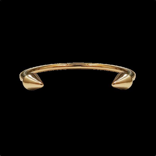 צמיד מתכת בעל סיומת ראש חץ בצבע זהב