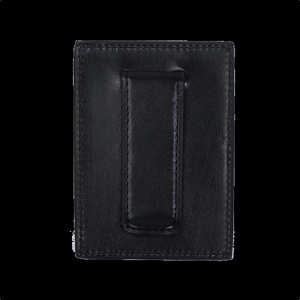 ארנק לכרטיסים עם קליפס למזומן בצבע שחור תמונת גב