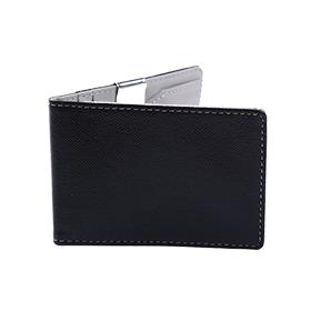 ארנק כרטיסים נפתח עם קליפס למזומן בצבע שחור אפור