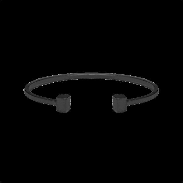 צמיד מתכת בעל סיומת קוביות בצבע שחור
